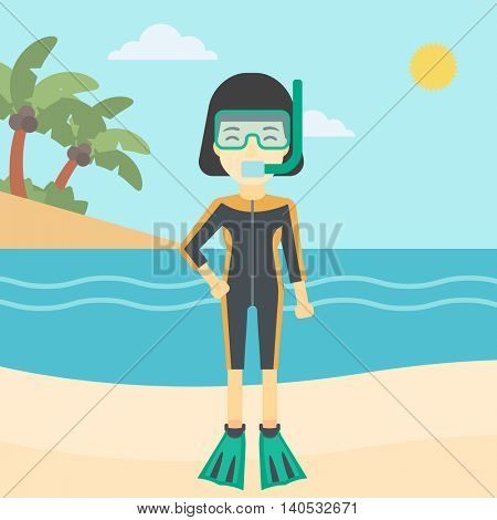 An asian woman in diving suit, flippers, mask and tube standing on the beach. Female scuba diver on the beach. Woman enjoying snorkeling. Vector flat design illustration. Square layout.