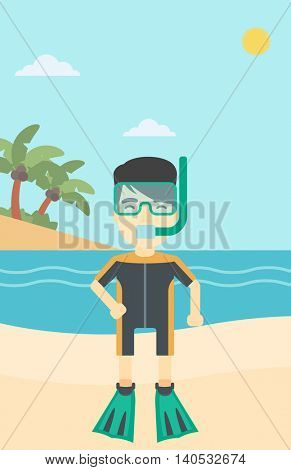 An asian man in diving suit, flippers, mask and tube standing on the beach. Male scuba diver on the beach. Man enjoying snorkeling. Vector flat design illustration. Vertical layout.