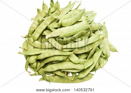 Bunch of string beans on a white background