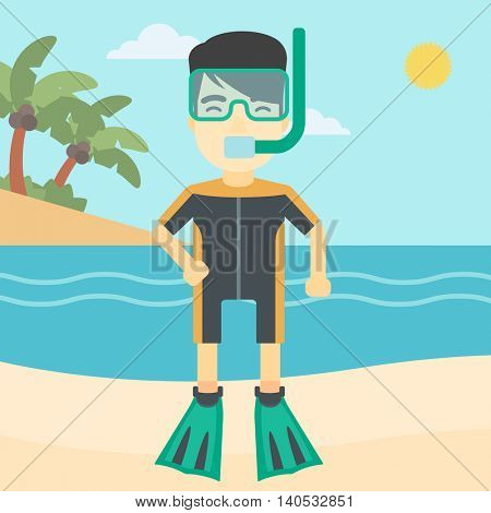 An asian man in diving suit, flippers, mask and tube standing on the beach. Male scuba diver on the beach. Man enjoying snorkeling. Vector flat design illustration. Square layout.