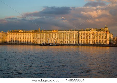 SAINT PETERSBURG, RUSSIA - APRIL 23, 2016: The winter Palace in the april twilight. View from the spit of Vasilyevsky island. Historical landmark of the city Saint Petersburg, Russia