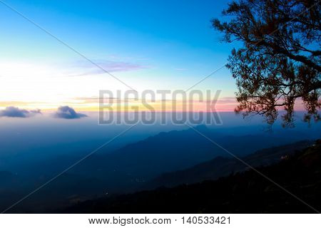 Beautiful and famous travel location The landscape photo beautiful sea fog in morning time at Phu Tub Berk Viewpoint Phu Hin Rong Kla National Park in Thailand