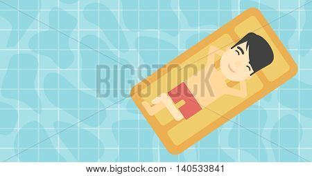 An asian man relaxing on the air bed in the swimming pool. An asian man enjoying his vacation. Vector flat design illustration. Horizontal layout.