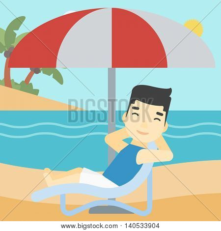 An asian man sitting in a chaise longue on the beach. An asian man relaxing while sitting under umbrella on the beach. Vector flat design illustration. Square layout.