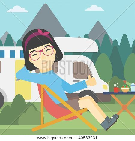 An asian woman sitting in folding chair and giving thumb up on the background of camper van. Woman enjoying vacation in camper van. Vector flat design illustration. Square layout.