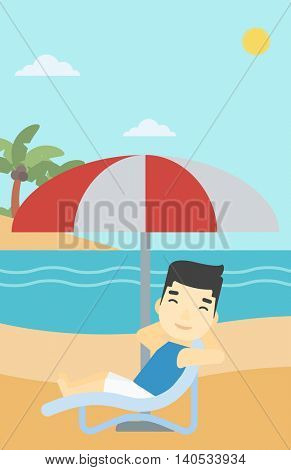 An asian man sitting in a chaise longue on the beach. An asian man relaxing while sitting under umbrella on the beach. Vector flat design illustration. Vertical layout.