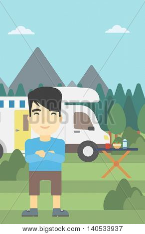 An asian man standing in front of motor home. Young man with arms crossed enjoying vacation in camper van. Vector flat design illustration. Vertical layout.