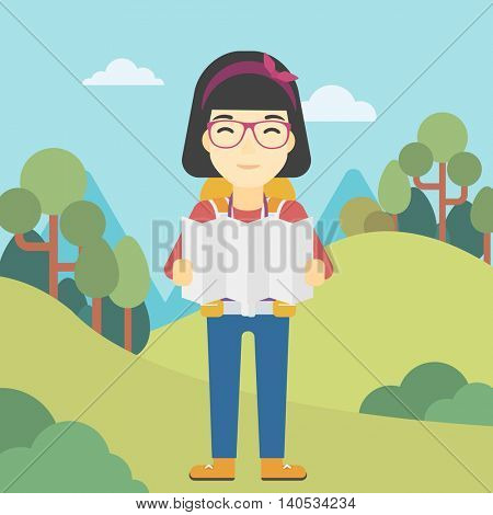 Traveler with backpack looking at map. An asian woman travelling in mountains. Traveler searching right direction on map. Vector flat design illustration. Square layout.