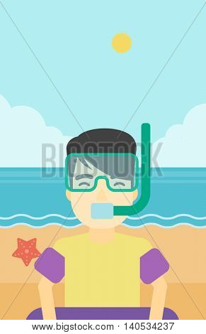 An asian man in mask, tube and rubber ring standing on the background of beach and sea. Man wearing snorkeling equipment on the beach. Vector flat design illustration. Vertical layout.