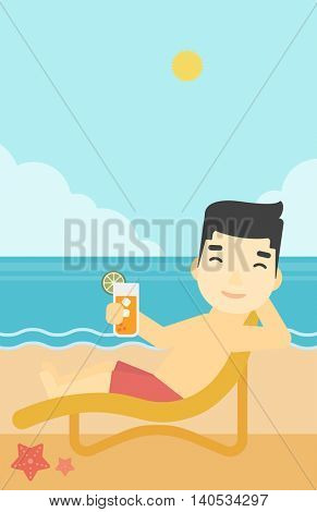 An asian man sitting in chaise longue and holding a cocktail in hand on the background of sand beach with blue sea. Vector flat design illustration. Vertical layout.