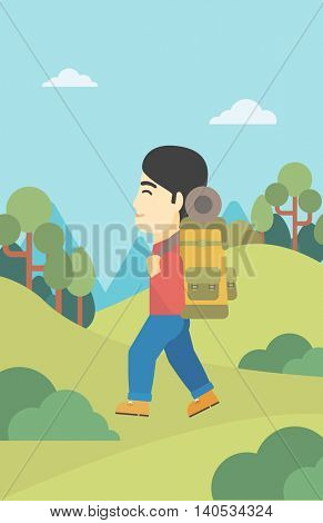 An asian man hiking in mountains. Traveler with backpack mountaineering. Hiking man with backpack walking outdoor. Vector flat design illustration. Vertical layout.