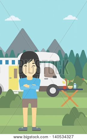 An asian woman standing in front of motor home. Woman with arms crossed enjoying vacation in camper van. Woman travelling by camper van. Vector flat design illustration. Vertical layout.