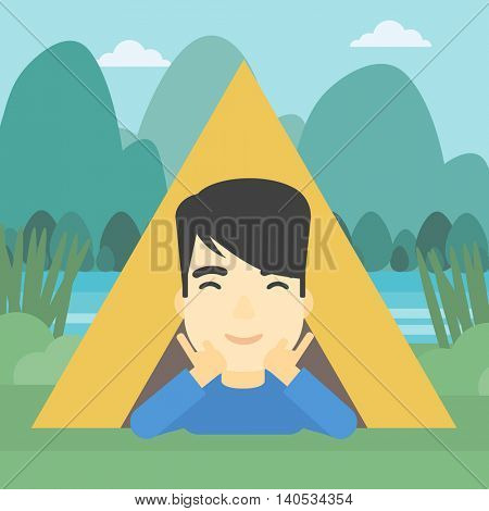 An asian man crawling out from a camping tent. Man with his hands on cheek lying in camping tent and relaxing. Vector flat design illustration. Square layout.