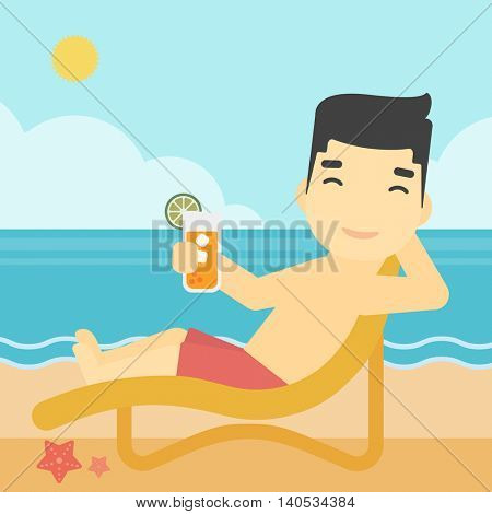 An asian man sitting in chaise longue and holding a cocktail in hand on the background of sand beach with blue sea. Vector flat design illustration. Square layout.