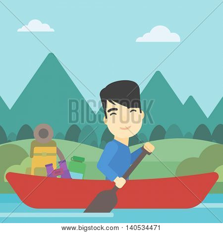 An asian man riding in a kayak on the river with a skull in hands and some tourist equipment behind him. Man traveling by kayak. Vector flat design illustration. Square layout.