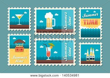 Bar beach vector stamp . Summer time postmark. Vacation eps 10