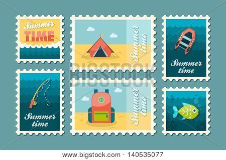 Summer camping vector stamp set. Summer time postmark. Holiday eps 10