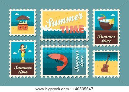 Island beach vector stamp set. Summer time postmark. Vacation eps 10