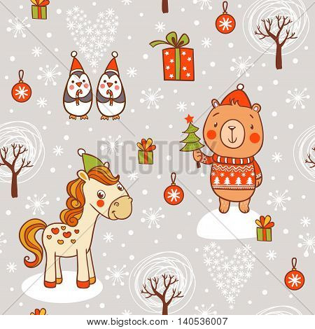 Childish vector seamless pattern with horse bear in sweater and penguins.