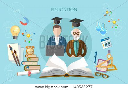 Education banner infographic professor and student learning open book of knowledge vector illustration