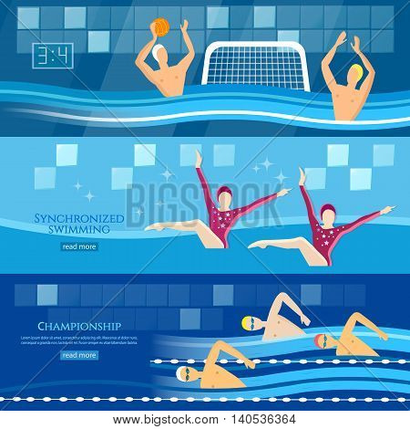Professional water sports banner water polo synchronized swimming sport swimming vector illustration