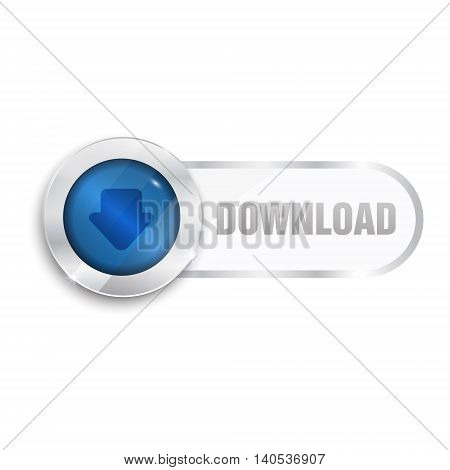 download sign icon. button isolated on white background. glass surfise