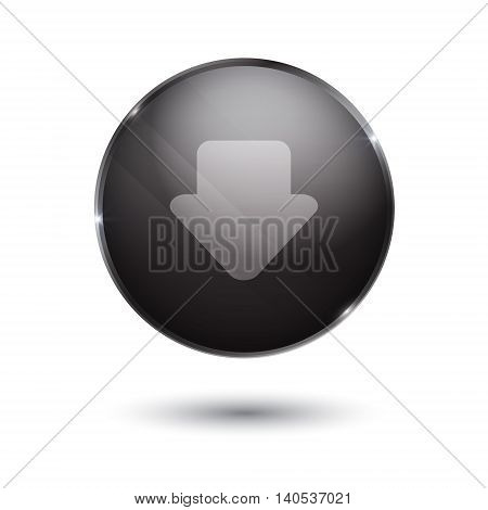 download sign icon. round black button isolated on white background. glass surface. arrow down
