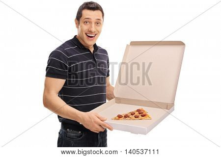 Joyful man holding a pizza box with a single slice of pizza in it isolated on white background
