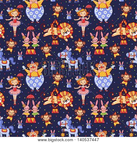 Seamless kids circus pattern in vector with lion bunny monkey clown.