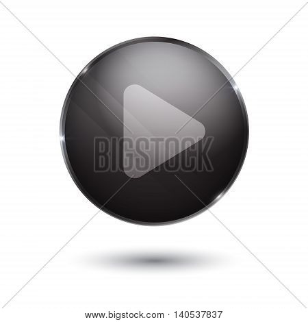 play sign icon. round black button isolated on white background. glass surface. player. start.