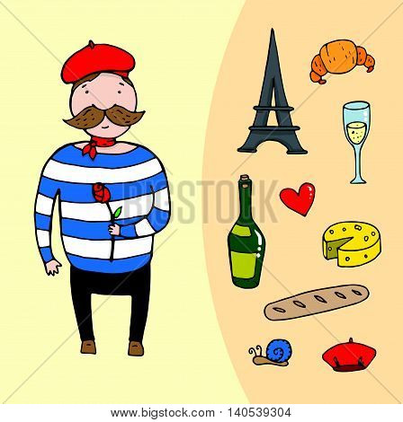 French Man With A Rose And Set Of French Elements