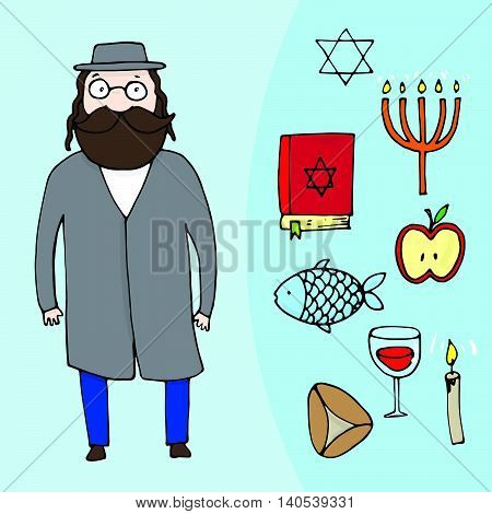 Jewish Bearded Man And A Set Of Different Jewish Elements