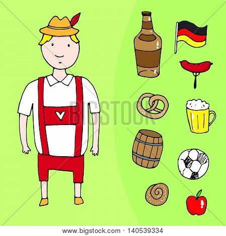 German Man With Differet German Elements Set