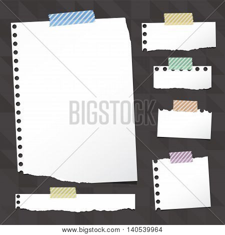 Pieces of ripped white notebook paper are stuck with sticky tape on black pattern created of triangle shapes, vector