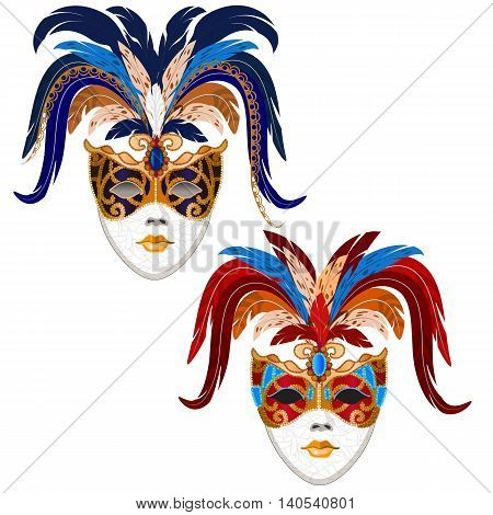 Set of stylized old carnival masks of ladies. The mask decorated with feathers. vector