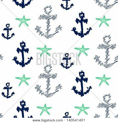 Nautical anchor seamless vector pattern on white. Scribble navy blue anchors with mint sea stars background for textile fabric.