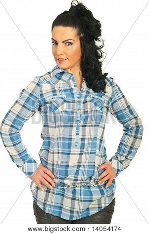 Beauty Bruneete Woman In Cool Shirt