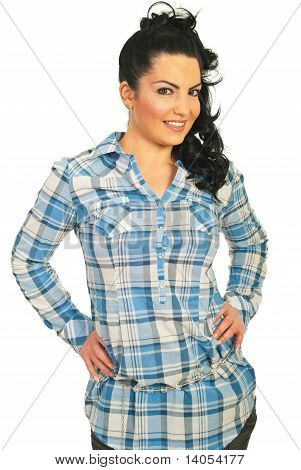 Happy Woman In Casual Shirt