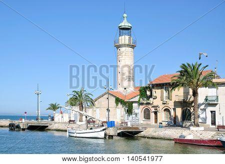 Lighthouse in Village of Le Grau du Roi in Camargue,mediterranean Sea,France