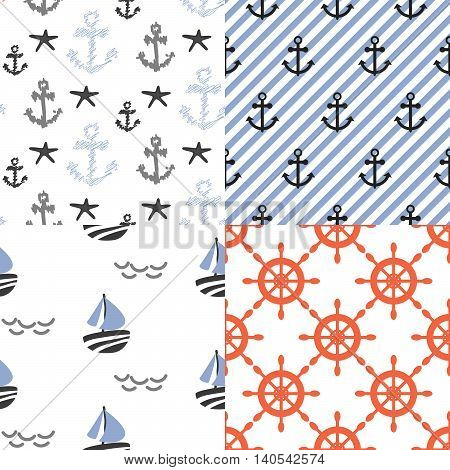 Seamless vector pattern set with nautical sailor theme. Anchors, boats and red helms repeat blue diagonal stripe background.
