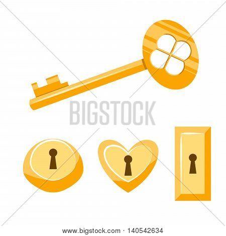 Key and keyhole gold vector cartoon illustration. Isolated vintage keyhole set on white. Keyhole icon set.