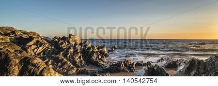 Panorama Sunset Landscape Of Woolacombe Beach In Devon England