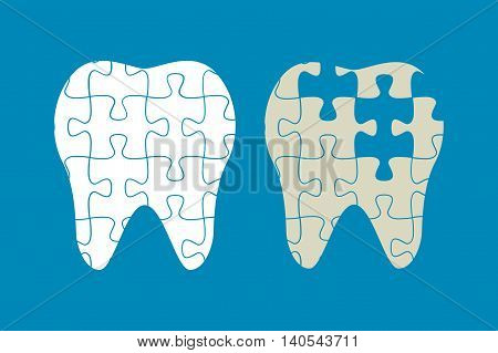 tooth of the puzzle, healthy and diseased teeth, vector illustration