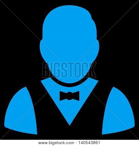 Waiter icon. Vector style is flat iconic symbol with rounded angles, blue color, black background.