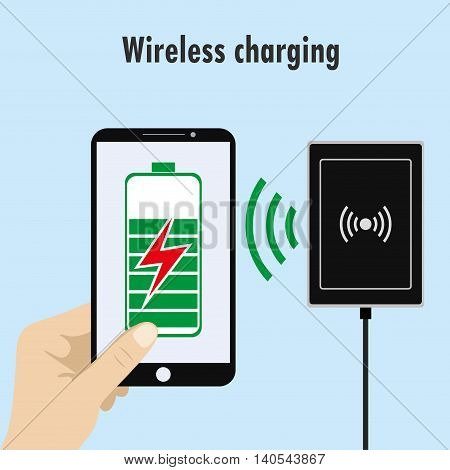 Smartphone on a Wireless Charge, vector illustration