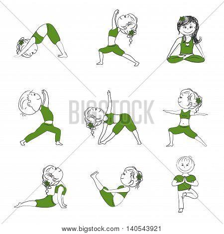Yoga pose asana set , vector isolated on white background . Yoga poses character cartoon.