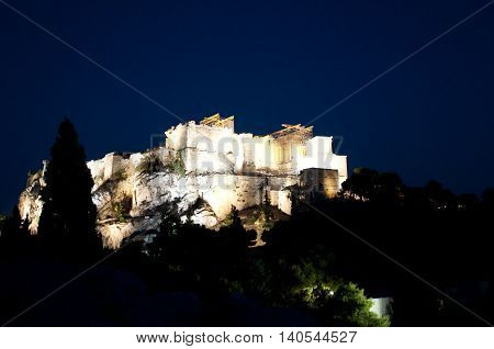 Acropolis of Athens at night as seen from Areopagus Hill located just bellow the entrance of the Acropolis.