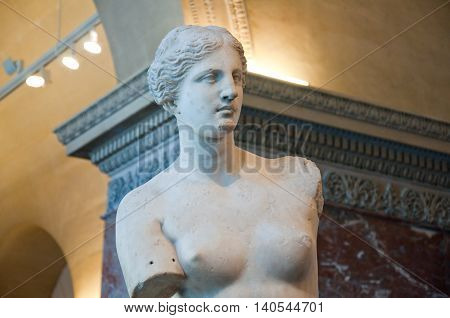 PARIS FRANCE-AUGUST 16: Detail of Venus de Milo at the Louvre Museum on August 162009 in Paris France.