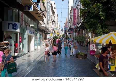 ATHENS-AUGUST 22: Shopping on Ermou Street with crowd of people on August 22 2014 in Athens Greece. Ermou street is a shopping street in Athens.