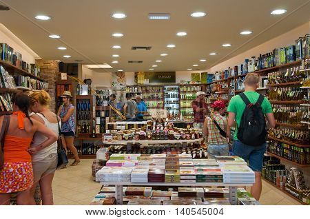 ATHENS-AUGUST 22: Traditional Greek shop displayed for sale in Plaka area on August 22 2014 in Athens Greece. Pláka is the old neighbourhood of Athens clustered around the slopes of Acropolis.